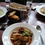 Brill, soup, salad & polenta chips
