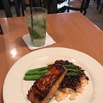 Grilled Salmon with a guava bbq, rice, beans and a great mojito!