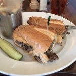 """Marinated Steak Sandwich"" - really a Philly cheese steak on dry bread."