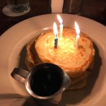 Silver dollar pancakes from the Kid's menu make an EXCELLENT brunch birthday cake.