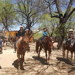 Dad, mom, 7-year-old daughter, 4-year-old son after trail ride.