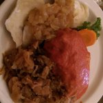 Stuffed cabbage with 3 pierogis. (Served with sauté cabbage)