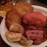 Plate of Polish Specialties (3 Pierogis, 2 potato pancakes, polish kielbasa, hunter's stew and s