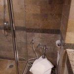 nice floor mat, glass shower walls