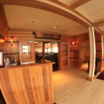 Fisheye photo of the entry to Obsidian Dining Room.
