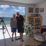Gordon and Diana in their beautiful living room....spectacular view.