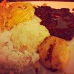 My plate with aji de gallina, alpaca, and quinoa risotto