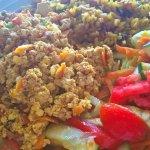 Scrambled tofu, fried brown rice with veggies, salad