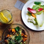 Spring Veg & Broad Bean Dip, Avocado & Quinoa Salad (both vegan)