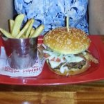 Yum burger and fries