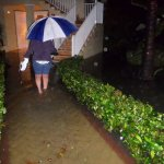 Resort flooded after heavy rain - drainage not working
