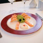 Avocado mousse with prawns