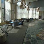 Hotel lobby which has been done out nice