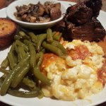 pot-roast, green beans, mac & cheese and mushrooms