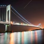 A night picture of the Verrazano bridge.