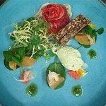 Beetroot cured Hebridean salmon
