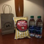 Hilton Honors members get a bag with water & popcorn at check in!