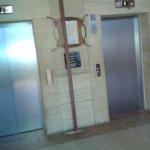Metal construction outsidehotel lift