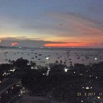 Sunset on Pattaya Bay view from Room Balcony