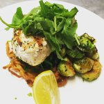 Grilled Swordfish/Brussels Sprouts/Sauteed Spinach/Potato Latka