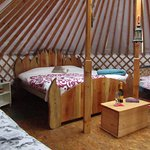 The Sunrise Sanctuary Yurt all ready for a family weekend stay.