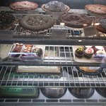 Cakes and pies on display