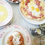 Breakfast pizza, apple french toast, polenta, bacon. Mmm.