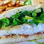cornmeal dusted cod sandwich with fires
