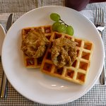 Deep fried poached eggs & waffles