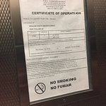 Expired elevator cert. Date taken was March 2017