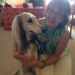 Owner Therese with Saluki