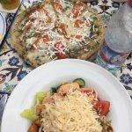 Jerusalem pizza and salad