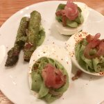 The roasted asparagus and deviled eggs