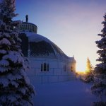 Sunrise behind the Igloo church