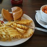 Chick-Fil-A Platter with waffle fries and carrot & raisin salad -- yum!