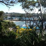 View from our site overlooking pool and harbour and headland in distance