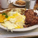 Absolute deliciousness!!!  Eggs, hash browns, corned beef hash and pancakes!!! Carpe diem!!!