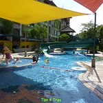 Water slide pool with toddler pool
