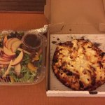 Salad and chicken feta pizza.
