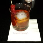 Rye Manhattan with Mountain Valley ice and house-made brandied cherries. Wonderful!