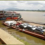 The harbour of Chiang Saen. Car export to China.