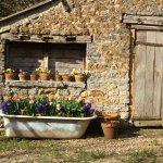 The old cast iron bath makes a wonderful place for Spring bulbs in the car park!