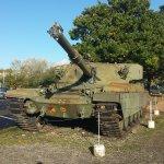 A tank guards the car park - thieves beware!