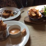 Haloumi bites with chipotle mayo, lover chips and salad