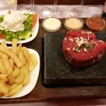 The large steak on the stone!