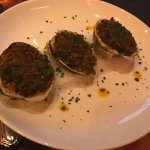 Clams casino, blackened rib eye and filet