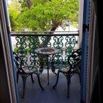 View through balcony to street velow
