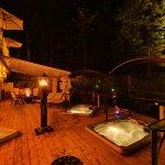 Terrasse soir spas et foyers