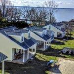 Close up of resort cottages.