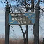 The sign of Walnut Beach
